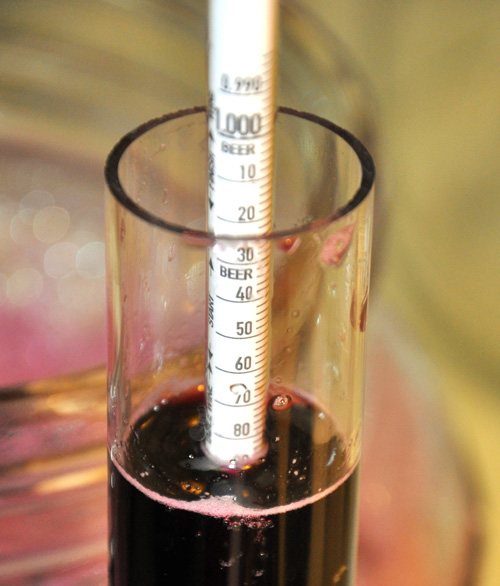 Sight along the surface of the wine--that's where the reading is accurate.