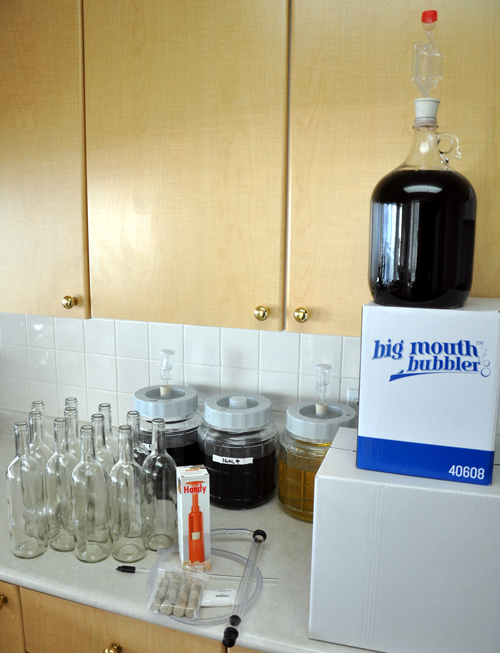 Bottles, autosiphon, siphon tip, impact corker, corks.