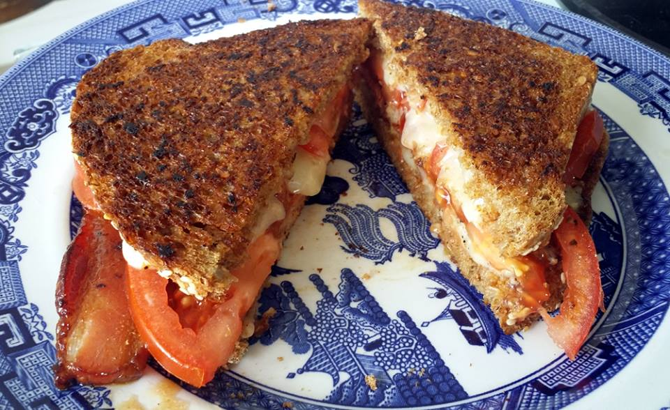 Garden tomato, home-smoked pork belly, Muenster cheese, double-grilled.